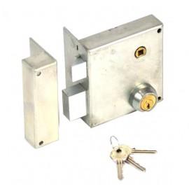 Serrure à cylindre rond renforcée pour grille verticale à fouillot gauche axe 75 mm