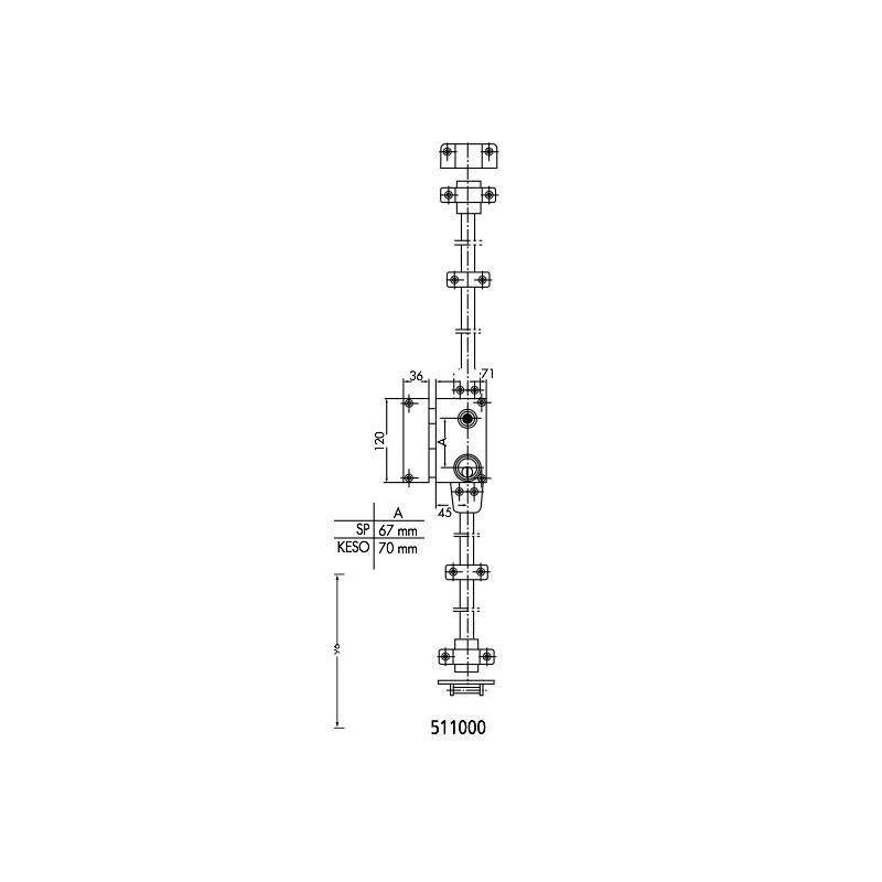 metalux 36 3 points p ne dormant 1 2 tour barillet serrures pour menuiseries m talliques. Black Bedroom Furniture Sets. Home Design Ideas