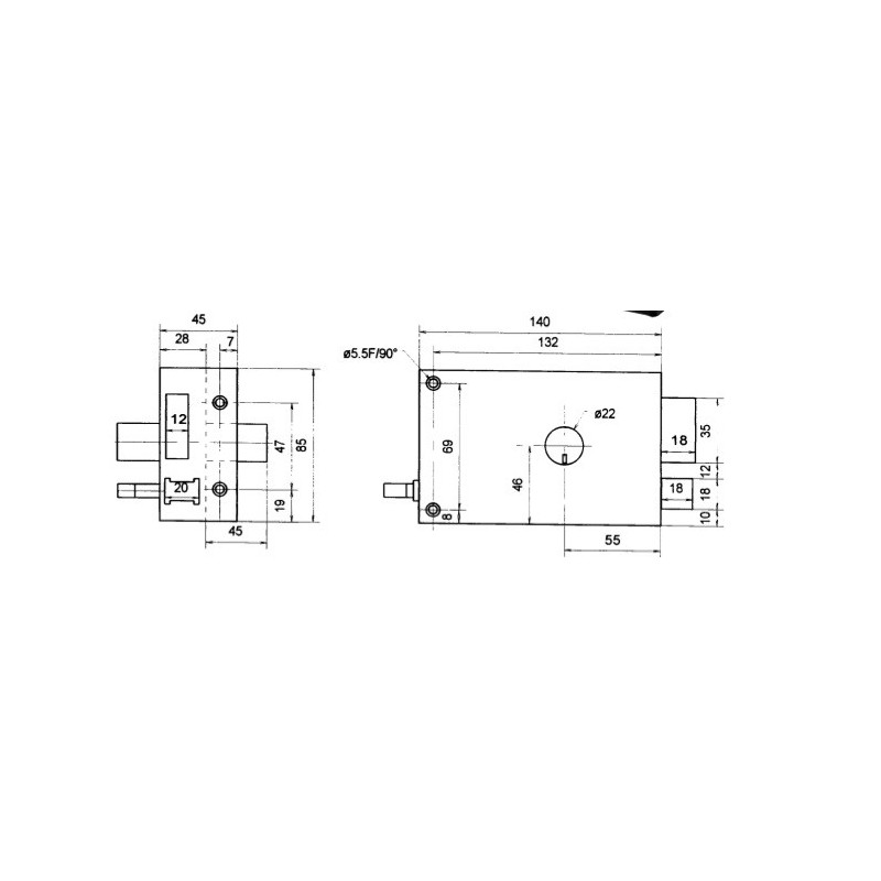Serrure cylindre rond horizontale tirage gauche axe 55 mm - Cylindre serrure dimension ...