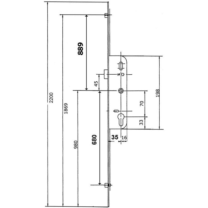 serrure larder 3 points ferco 35mm h2200mm. Black Bedroom Furniture Sets. Home Design Ideas