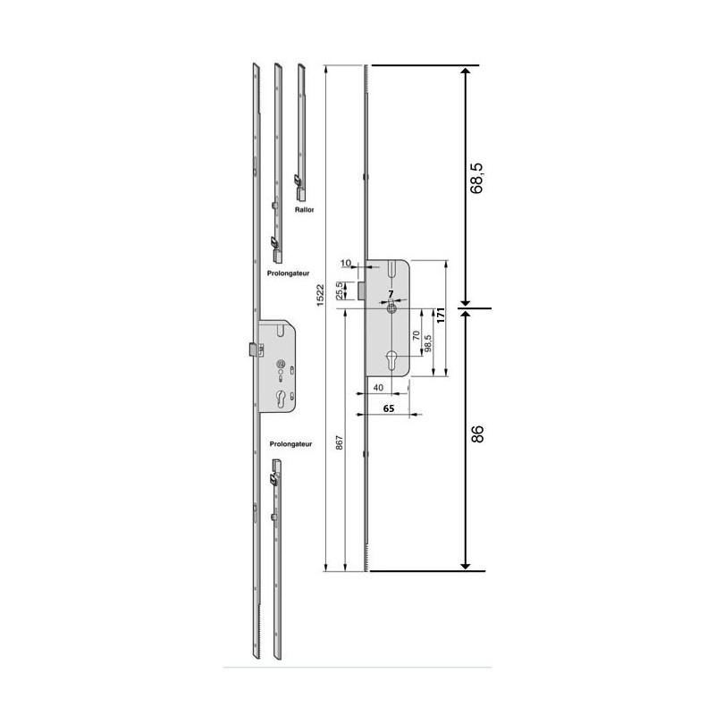 serrure cr mone larder 3 points decena ferco axe 40mm. Black Bedroom Furniture Sets. Home Design Ideas