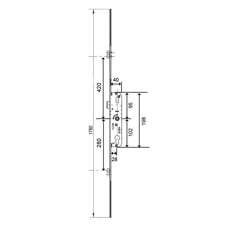 serrure larder 3points ferco axe 28mm h1780. Black Bedroom Furniture Sets. Home Design Ideas