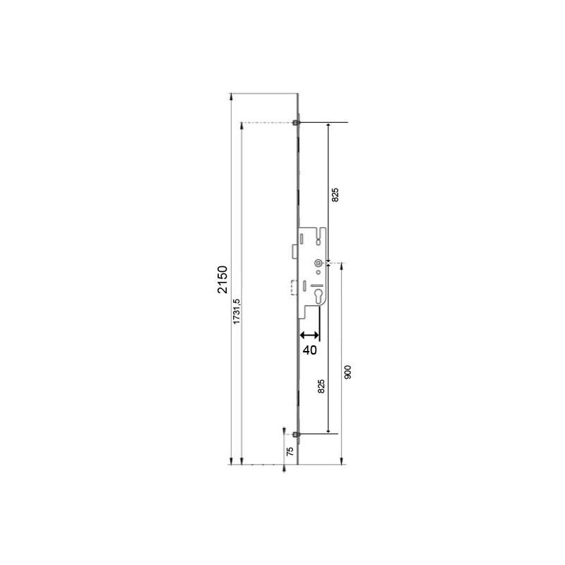 serrure larder 3 points galets europa ferco axe 40mm d2150. Black Bedroom Furniture Sets. Home Design Ideas