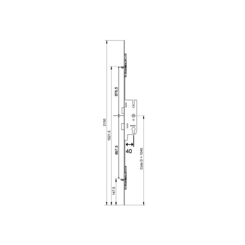 serrure larder 3points pannetons gu europa ferco axe 40mm. Black Bedroom Furniture Sets. Home Design Ideas