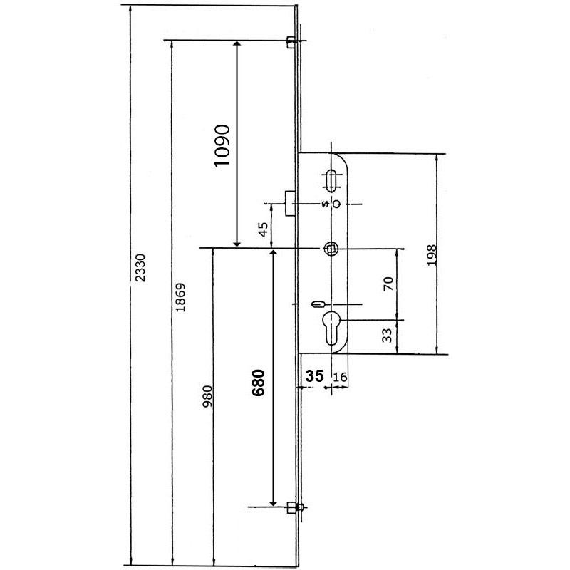 serrure larder 3 points ferco 35mm h2330mm. Black Bedroom Furniture Sets. Home Design Ideas