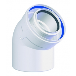 COUDE CONCENTRIQUE 45° Polypropylène/ALU diamètre 80/125 mm