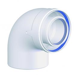 COUDE CONCENTRIQUE A 87° Polypropylène/ALU diamètre 80/125 mm