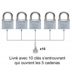 LOT DE 5 CADENAS INOX M30 S'ENTROUVRANT (Blister)