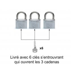LOT DE 3 CADENAS INOX M30 S'ENTROUVRANT (Blister)
