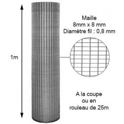 Volière maille 8X8mm fil 0,8mm 1m à la coupe ou en rouleau 25m