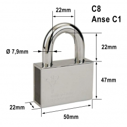 Cadenas Série C n°8 pop clé PVC Mul-t-lock