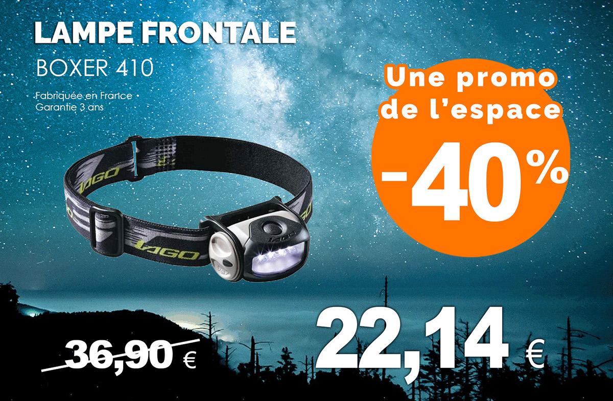Lampe frontale 4 LED en super promo fabriquée en France top qualité garantie 3 ans