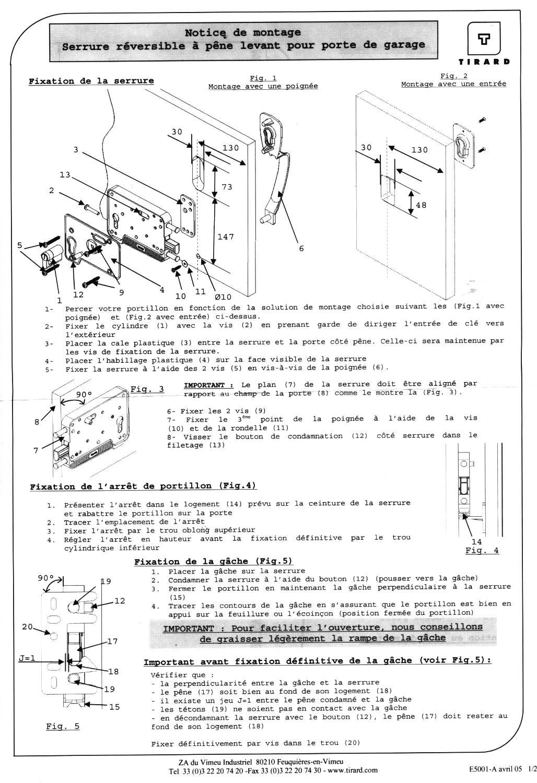 Serrure porte de garage tirard reversible horizontale for Notice porte de garage etdoor et600l