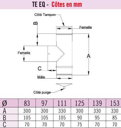 Dimension du té pour tuyau de poêle